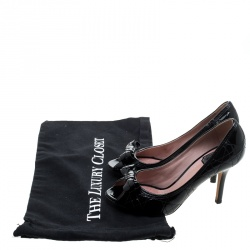 Christian Dior Black Patent Cannage Leather Bow Peep Toe Pumps Size 36.5