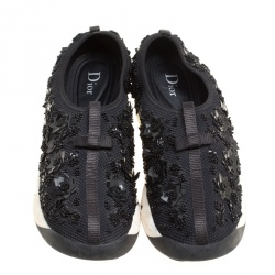 Dior Black Mesh Fusion Embellished Sneakers Size 40.5