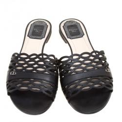 Dior Black Laser Cut Leather Tattoo Peep Toe Slides Size 38