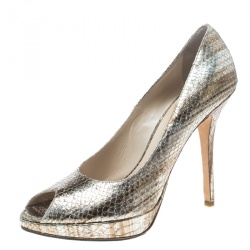 c4c2b4dab34 Dior Metallic Snakeskin Peep Toe Platform Pumps Size 40