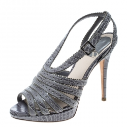 286741b867b3 Dior Grey Croc Embossed Leather Bonnie Strappy Peep Toe Platform Sandals  Size 38