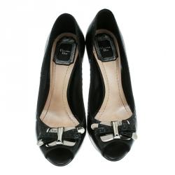 Dior Black Leather Bow Peep Toe Pumps Size 38
