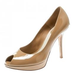 ddc018dd49 Dior Beige Patent Leather Miss Dior Peep Toe Pumps Size 38.5