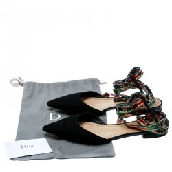 Dior Black Canvas J'adior Pointed Toe Ankle Wrap Flats Size 39