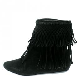 c6c87ea5b349 Buy Christian Louboutin Black Suede Rom Fringe Detail Platform Ankle ...