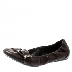 54d9f1d75 Dior Brown Leather Buckle Detail Scrunch Ballet Flats Size 35.5