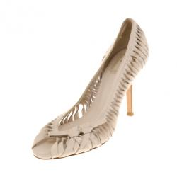 Dior Cream Twisted Leather Pumps Size 37