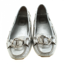 Christian Dior Metallic Silver Leather Logo Slip On Loafers Size 38