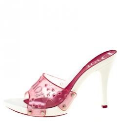 Dior Pink PVC Logo Open Toe Sandals Size 39.5