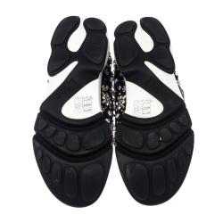 Dior Black Mesh Fusion Crystal Embellished Slip On Sneakers Size 36.5