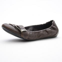 c1028ffed16 Christian Dior Brown Leather Buckle Ballet Flats Size 35.5