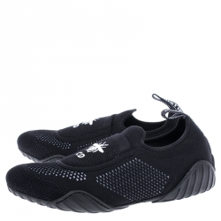 Dior Black Stretch Knit Fabric D-Fence Slip-On Sneakers Size 39.5