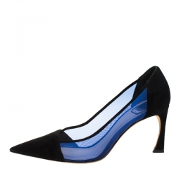 Dior Black Suede And Blue Mesh Pointed Toe Pumps Size 40