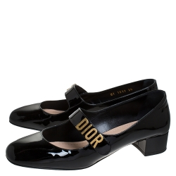 Dior Black Patent Leather Baby-D Mary Jane Pumps Size 39
