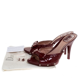 Dior Red Cannage Patent Leather Bow Slides Size 39