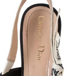 Dior Black Fabric J'adior Slingback Pointed Toe Sandals Size 38.5