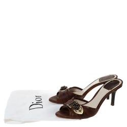 Dior Brown Leather Chain Detail Slide Sandals 39