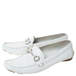 Dior White Leather Logo Embellished Slip On Loafers Size 41