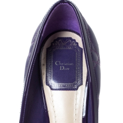 Dior Purple Quilted Cannage Leather Peep Toe Platform Pumps Size 37.5
