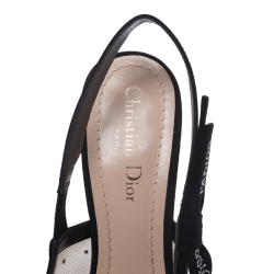 Dior Black Plumetis Mesh J'adior Studded Suede Pointed Toe Slingback Sandals Size 38.5