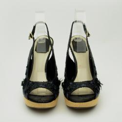 Christian Dior Black Floral Emroidered Peep Toe Sling Back Sandals Size 39.5