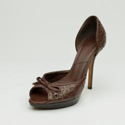 Christian Dior Brown D'Orsay Open Toe Pumps Size 37