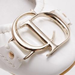 Dior CD White Patent Ballerina Flats Size 35.5