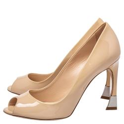 Dior Beige Patent Leather Miss Dior Peep Toe Pumps Size 38