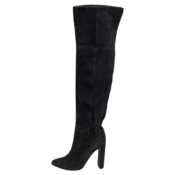Dior Black Suede Knee Length Boots Size 37.5