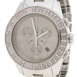 Dior Grey Stainless Steel Diamond Studded Pink Sapphire Stainless Steel Christal CD114315 Women's Wristwatch 39 mm