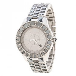 db553681b3 Dior Silver Grey Stainless Steel Christal CD113113 Women's Wristwatch 33 mm