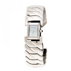 Christian Dior Mother of Pearl Diamond Stainless Steel D72-1011 Art Deco Women's Wristwatch 14MM
