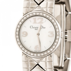 Christian Dior White Mother of Pearl Diamonds Chris Collection D86-101 Women's Wristwatch 24 mm