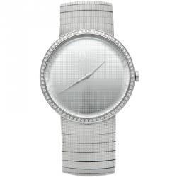Dior Silver Stainless Steel La D De Dior Diamond Watch 38MM