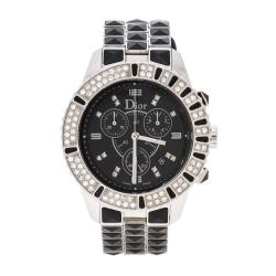 Dior Black Stainless Steel Diamonds Christal CD11431C Women's Wristwatch 38 mm