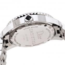 Dior Black Ceramic Stainless Steel Diamonds Christal CD11311B  WOmen's Wristwatch 33 mm