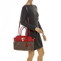 DKNY Beige/Red Signature Canvas and Leather Satchel