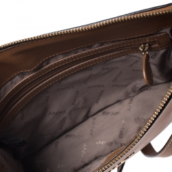 Dkny Brown Leather Zip Crossbody Bag