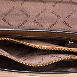 Dkny Brown Leather Flap Crossbody Bag