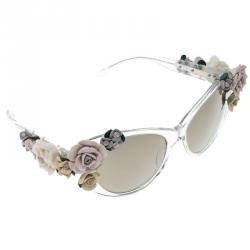 9f5c725cbcc Dolce and Gabbana Brown DG 4180 Floral Embellished Cat Eye Sunglasses