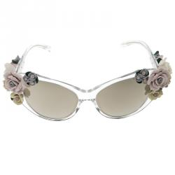 d511d545f2 Dolce and Gabbana Brown DG 4180 Floral Embellished Cat Eye Sunglasses