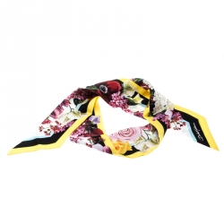 Dolce & Gabbana Multicolor Floral Printed Silk Bandeau Scarf