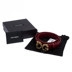Dolce and Gabbana Red Leather DG Amore Belt 75CM