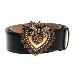 Dolce and Gabbana Black Leather Devotion Belt 75CM