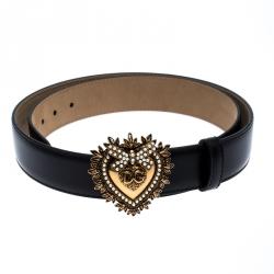 Dolce & Gabbana Black Leather Devotion Buckle Belt 85CM
