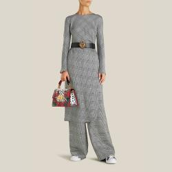 Dolce & Gabbana Black Devotion DG Embellished Leather Belt 80 CM