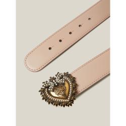 Dolce & Gabbana Pink Devotion Crystal-Embellished Slim Leather Belt 85 CM