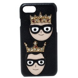 Dolce & Gabbana Black Leather Embellished Crown Face Patch iPhone 7 Case
