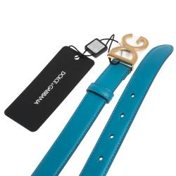Dolce & Gabbana Sky Blue Leather Logo Buckle Belt 85CM