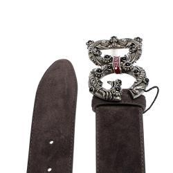 Dolce & Gabbana Dark Brown Suede Leather DG Amore Logo Belt 80CM